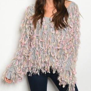 UNICORN RAINBOW FRINGE SWEATER TOP